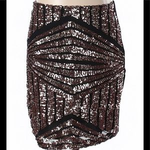Foreign Exchange Skirts - Foreign Exchange Rose Gold Sequin Skirt Size Small